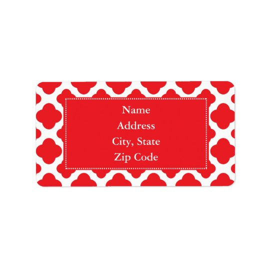 Personalised Red Quatrefoil Pattern Label