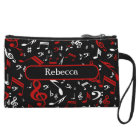 Personalised Red White and Black Musical Notes Wristlet