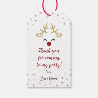 Personalised Reindeer Christmas Party Tags