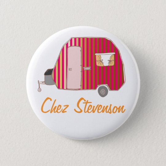 Personalised Retro Art Caravan Owner's Buttons
