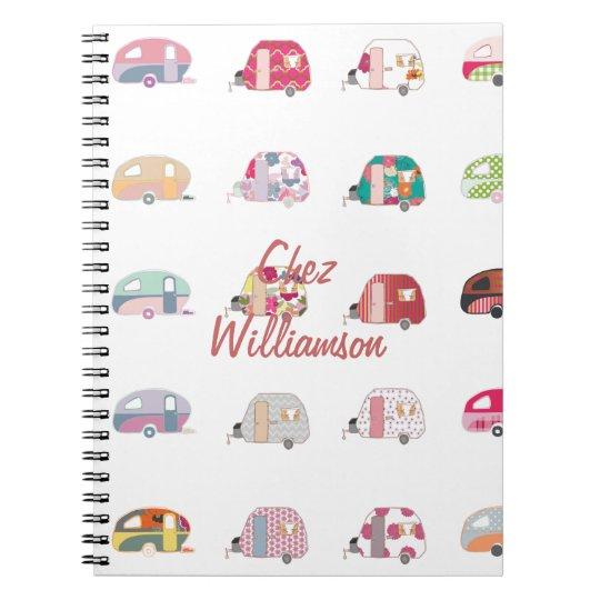 Personalised Retro Caravans Notebook