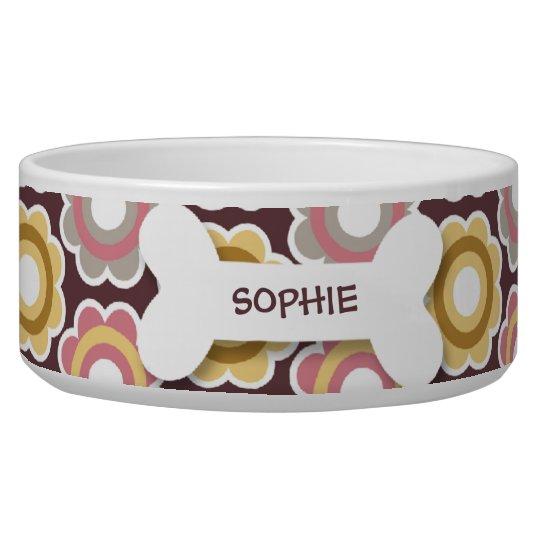 Personalised retro flowers dog bone pet food bowl