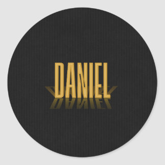 Personalised Retro Movie Poster Daniel Gold Round Sticker