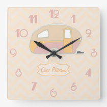 Personalised Retro Vintage Caravan Design Square Wall Clock