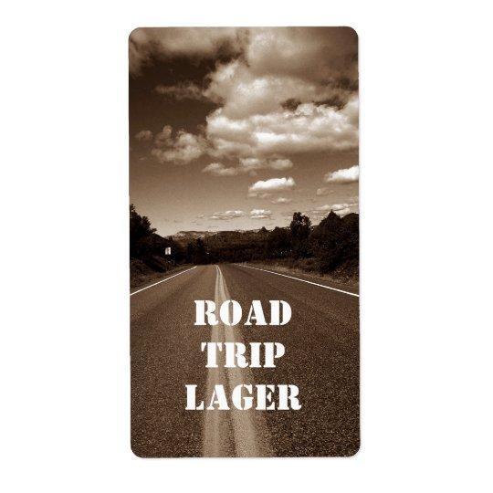 Personalised Road Trip Lager Homebrew Custom Label