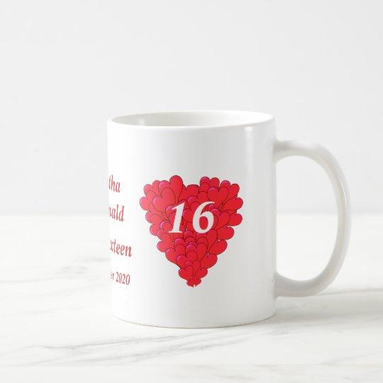 Personalised romantic heart Sweet Sixteen Coffee Mug
