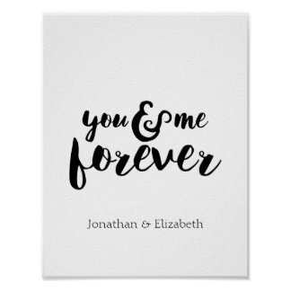 Personalised Romantic Quote, You & Me Forever Poster