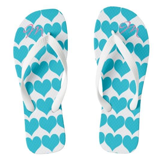 Personalised Romantic Turquoise Hearts Flip Flops