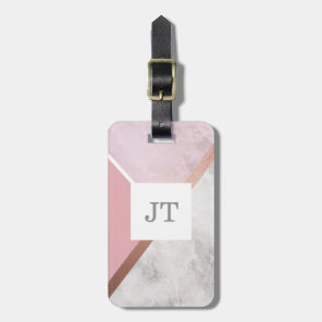 Personalised Rose Gold Marble Effect Luggage Tag