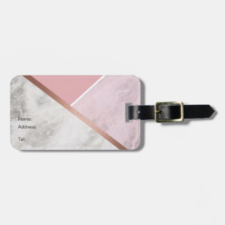 Personalised Rose Gold Marble Luggage Tag