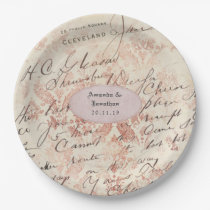 Personalised Rose Gold Shabby-Chic Wedding Paper Plate
