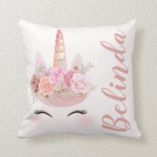 Personalised Rose Gold Unicorn Floral Cushion