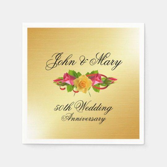 Personalised Roses & Gold 50th Wedding Anniversary Disposable