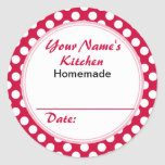 Personalised Round Baking Cooking Labels Red Dots Round Sticker