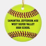 Personalised Round Softball Sports Ornament