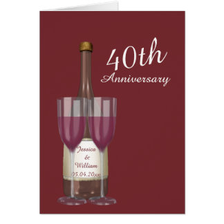 Personalised Ruby 40th Wedding Anniversary Greeting Card