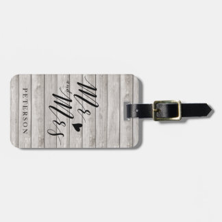 Personalised rustic wood luggage tag