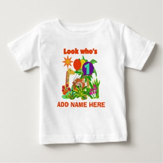 Personalised Safari 1st Birthday T-Shirt