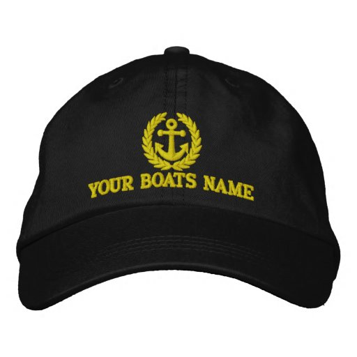 Personalised sailing boat captains embroidered hat
