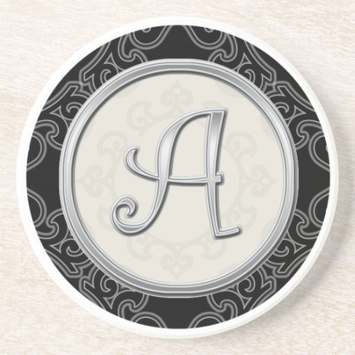 Personalised Sandstone Coasters:Silver Monogram A Coasters