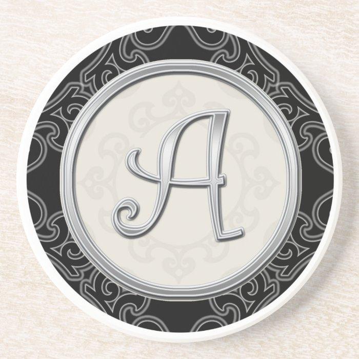 Personalised Sandstone Coasters:Silver Monogram A Coasters