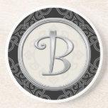 Personalised Sandstone Coasters:Silver Monogram B