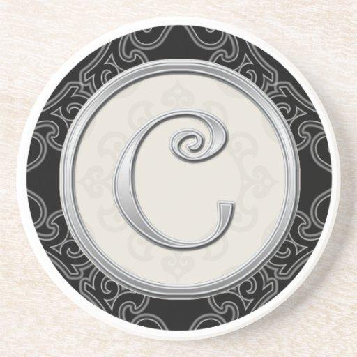 Personalised Sandstone Coasters:Silver Monogram C Beverage Coasters