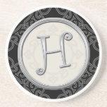 Personalised Sandstone Coasters:Silver Monogram H