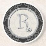 Personalised Sandstone Coasters:Silver Monogram R