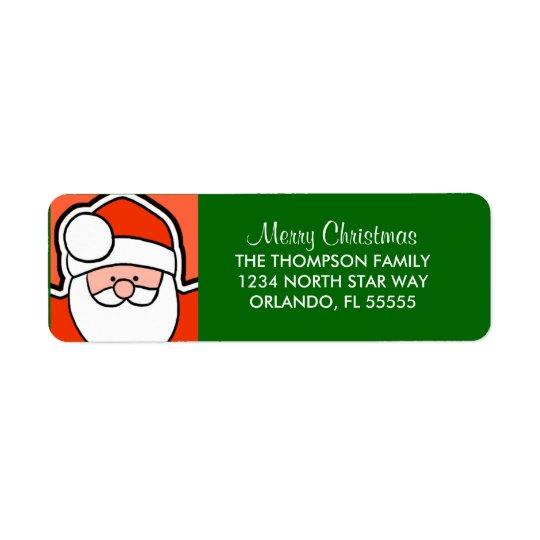 Personalised Santa Cartoon Return Address Labels