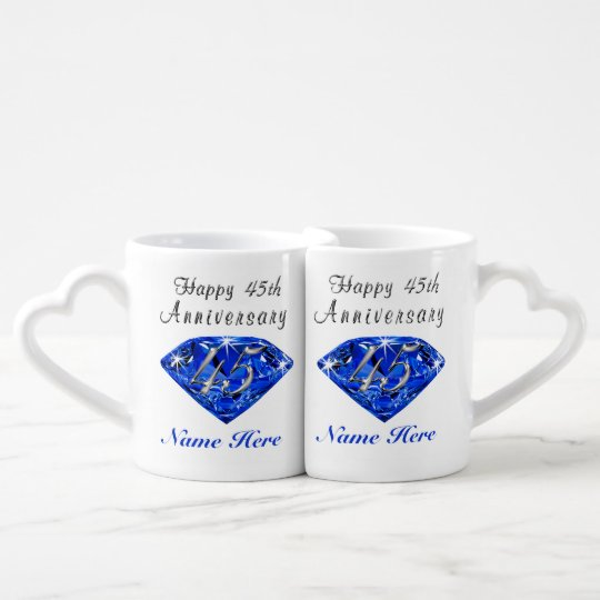 Personalised Sapphire Anniversary Gift Ideas Coffee Mug Set