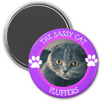 Personalised Sassy Cat Humourous Photo Button 7.5 Cm Round Magnet