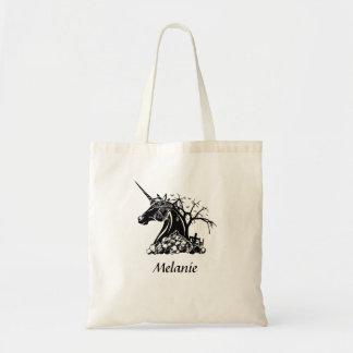Personalised Scary Unicorn Skulls Bats Halloween Tote Bag