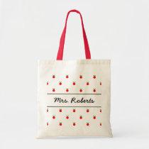 Personalised school teacher tote bag   red apples