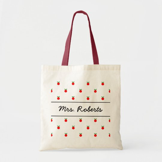 Personalised school teacher tote bag | red apples