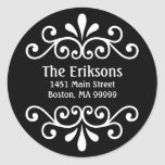Personalised Scroll Address Labels in Black Round Sticker