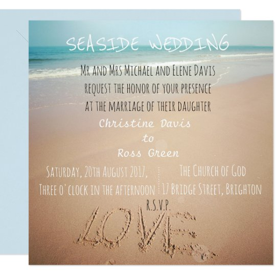 Personalised seaside wedding invitation with beach