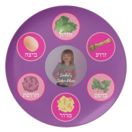 Personalised Seder Plate (Purple/Hebrew)