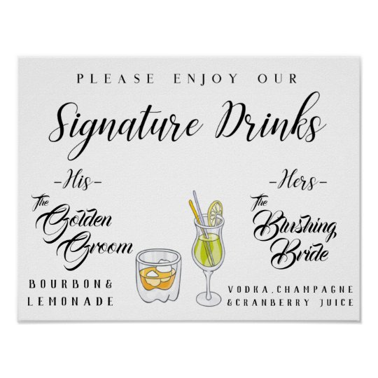 Personalised Signature Drink Sign