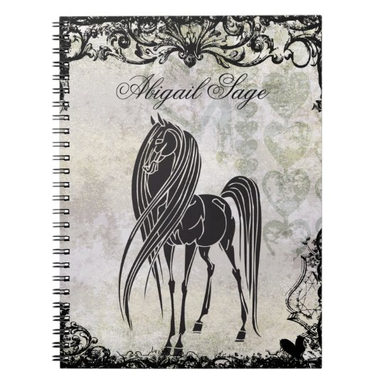 Personalised Silhouette Horse and Grungy Hearts Notebook