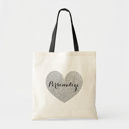Personalised silver glitter heart design tote bag