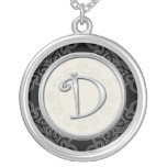 Personalised Silver Initial Pendant Necklace::D