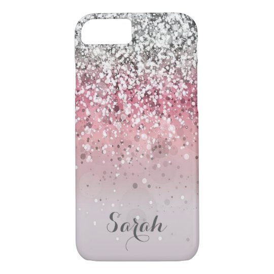 personalised silver pink glitter iphone case