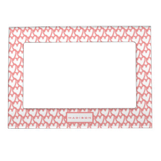 Personalised Simple Pink Hearts Pattern Magnetic Frame