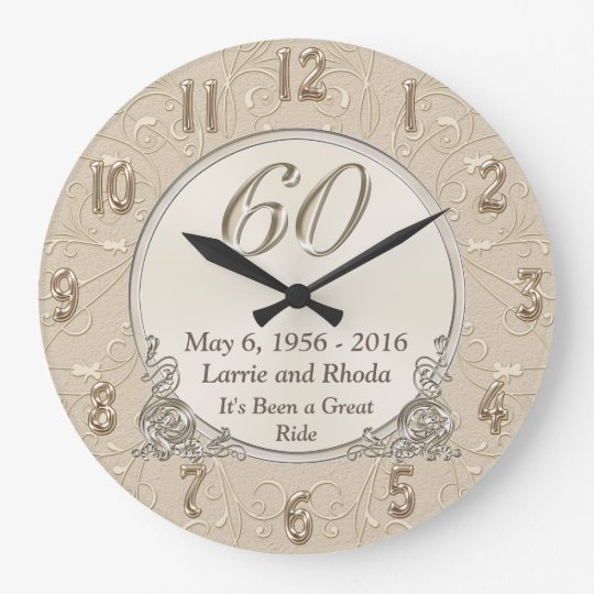 Personalised Sixtieth Wedding Anniversary Gifts Large Clock