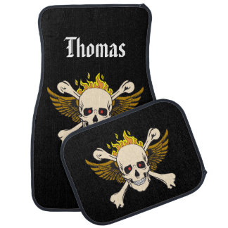 Personalised Skull and Wings with Crossbones Fire Floor Mat