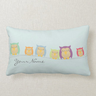 Personalised Sleeping Owls Pillow - Blue