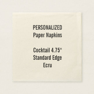 Personalised Small ECRU Cocktail Paper Napkins