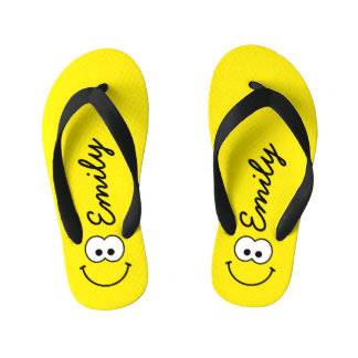 Flip Flops - Personalized Smiley Yellow Kid's Flip Flops