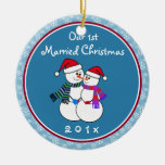 Personalised-Snow Couple's Our 1st Christmas Round Ceramic Decoration